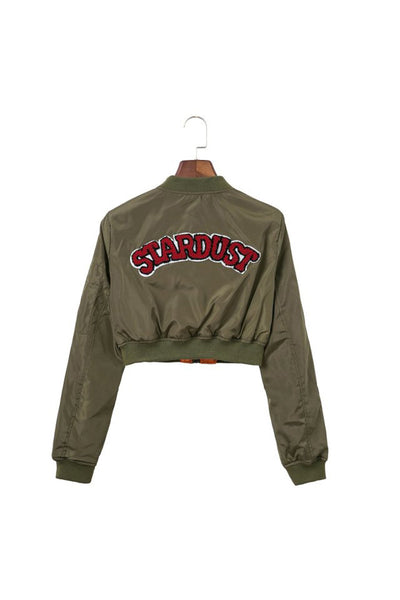 Crop Jacket with Graphic Badge (4 Color)