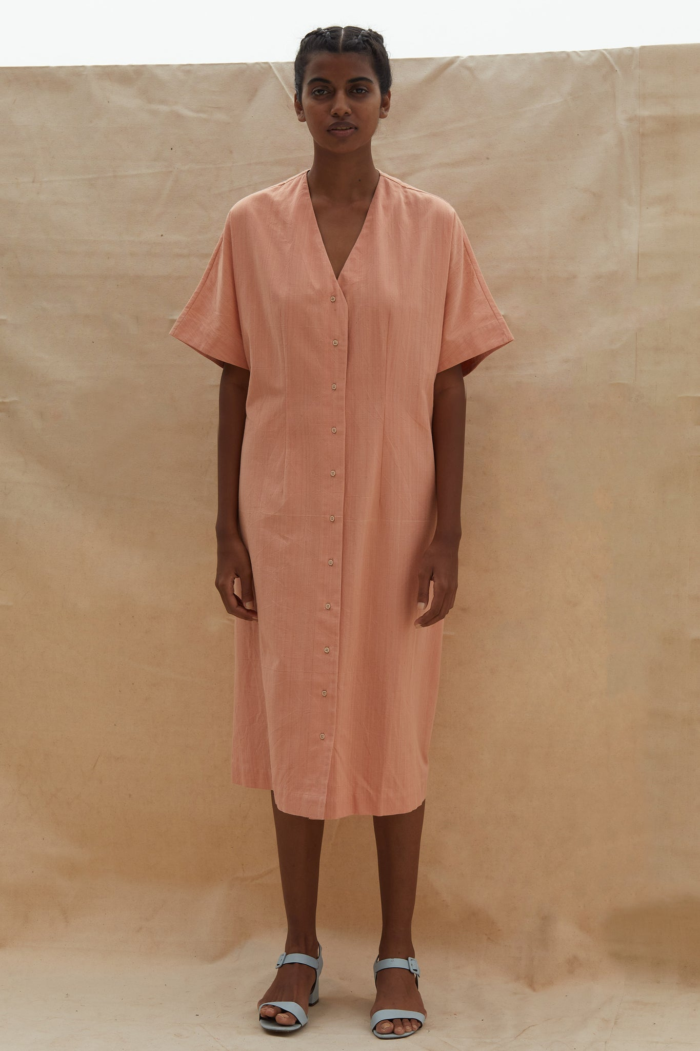Alexis_handwovencotton_blush_buttondown_dress