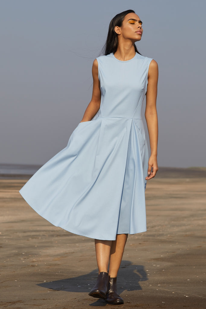 803b1cee456b POWDER BLUE MIDI DRESS - ETHICAL FASHION BRAND - THE SUMMER HOUSE ...