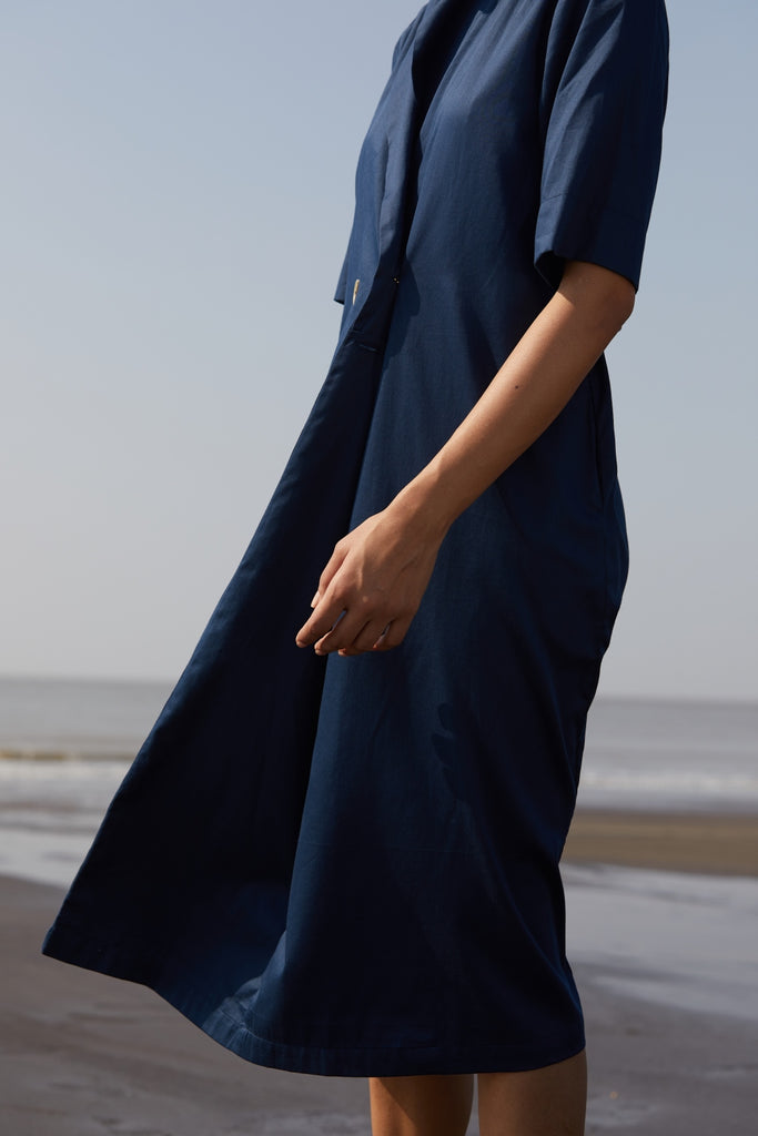df2f7962a9ee NAVY BLUE MIDI DRESS - ETHICAL FASHION BRAND - THE SUMMER HOUSE ...