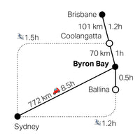 Trippt to Byron Bay map