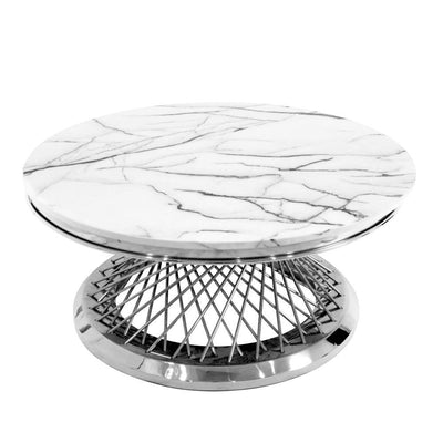 White Round Marble Table with Chrome Base