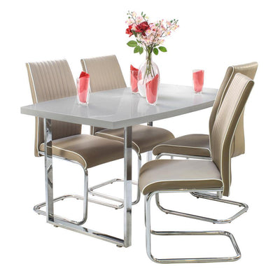 Grey dunloe dining table with 4 cappucino elba chairs
