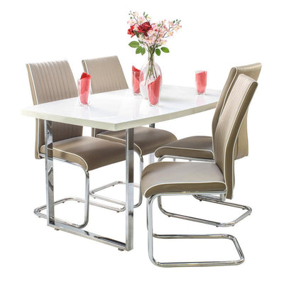 White dunloe table with 4 cappuccino elba chairs