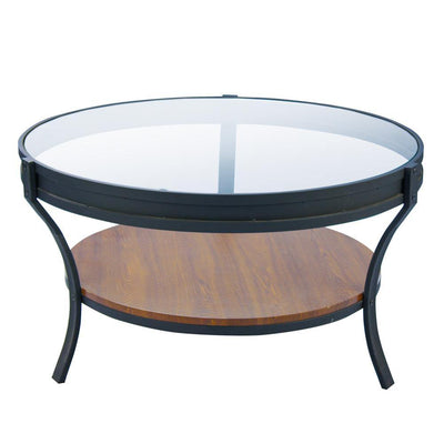 Round Glass and Wood Coffee Table