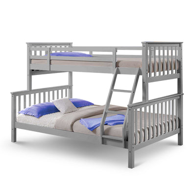 Grey Wooden Triple Bunk Bed Frame with 2 Mattresses