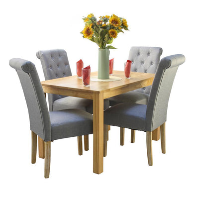 Valley natural wooden dining table and 4 Venice grey dining chairs