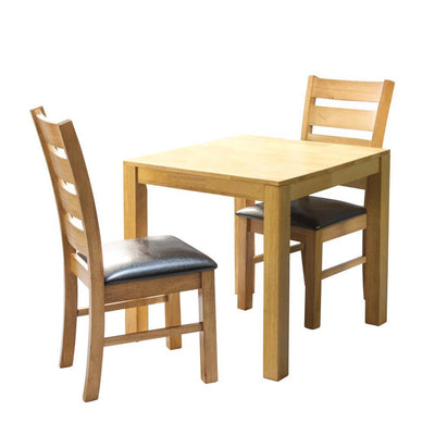 Valley natural wooden dining table with 2 Corby wooden dinning chairs with upholstered seats
