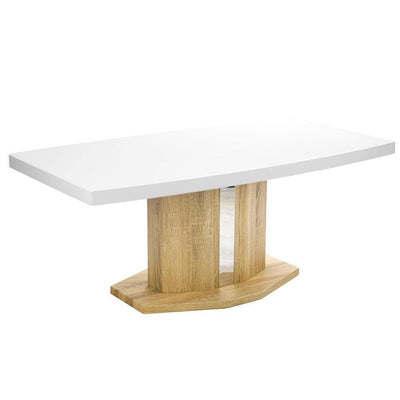 Coffee Table with White Glossy Top and Wooden Base