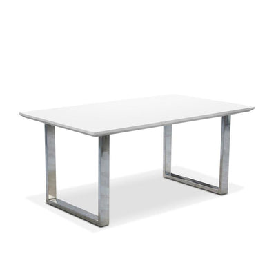 White Glossy Coffee Table With Metal Base