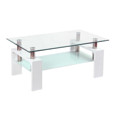 Glass Top Coffee Table with chrome elements and white base