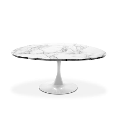 Marble top coffee table with white base