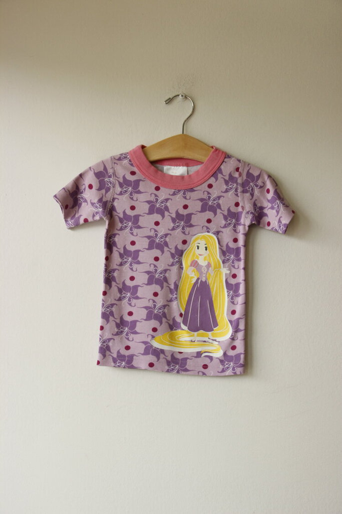 Hanna Andersson purple Disney princess 2pc short pjs set sz 3