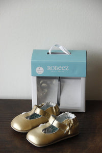Robeez gold t-strap soft shoes sz 9-12M (NIB $38)