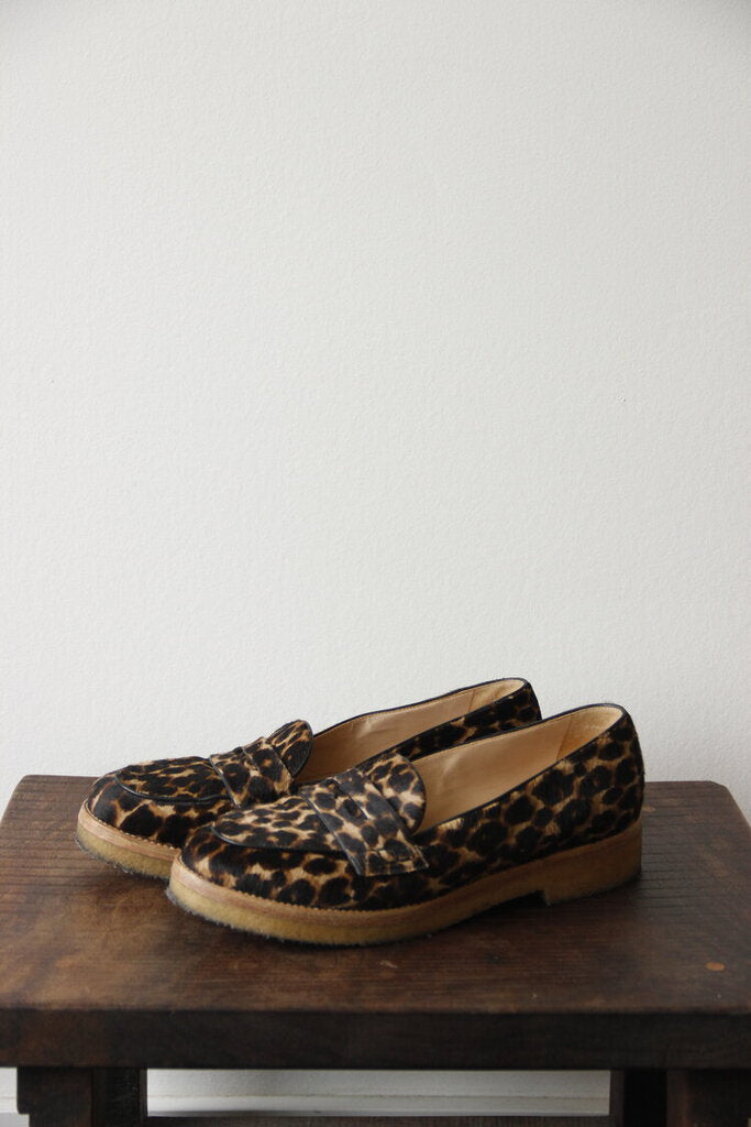 Longchamp leopard print pony hair platform loafers sz 9-9.5