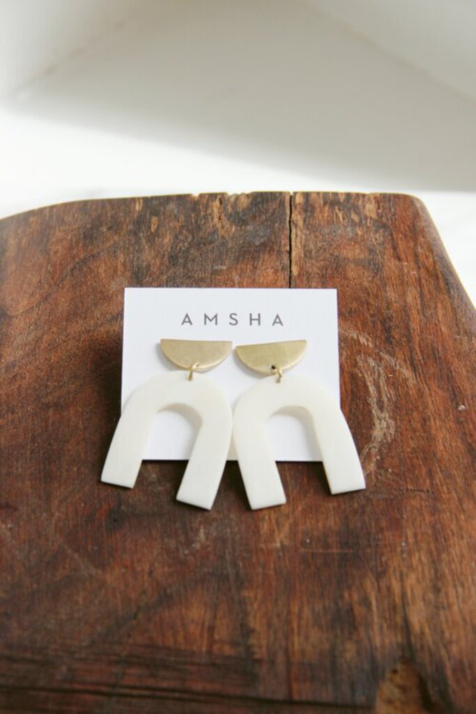 AMSHA PDX Arch Earrings in white