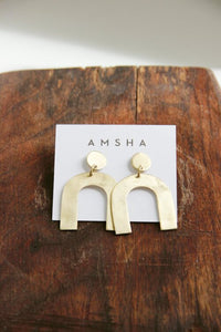 AMSHA PDX Petite Arch Earrings in brass