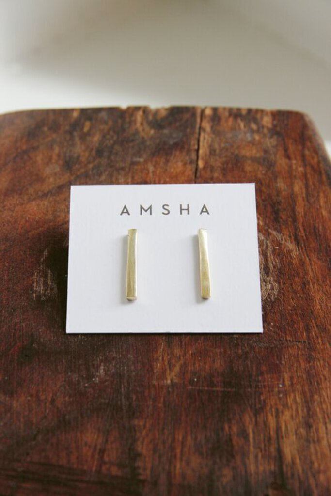 AMSHA PDX brass bar studs
