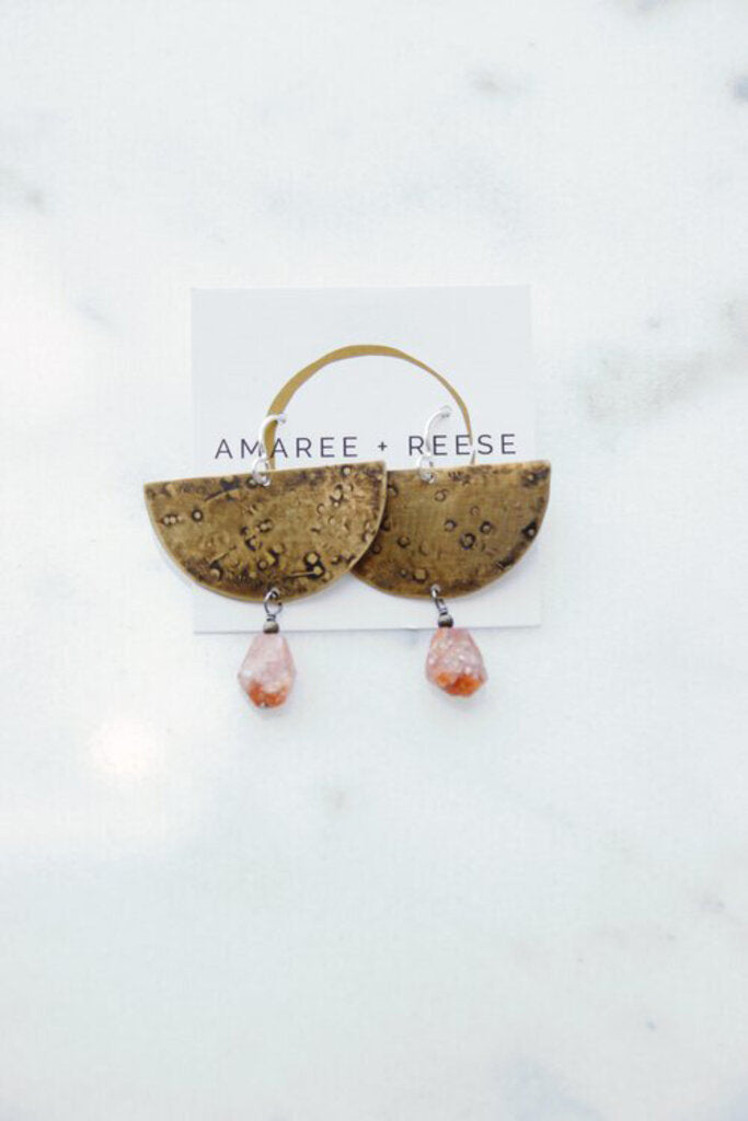 Amaree & Reese brass textured half circle earrings with Oregon Sunstone drop