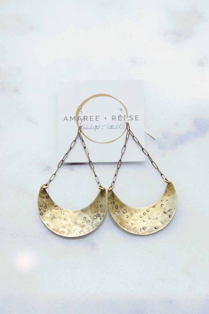 Amaree & Reese textured brass Hava earrings