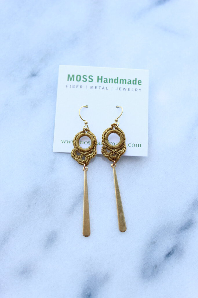 Moss Handmade PDX Keyhole Earrings in Ochre