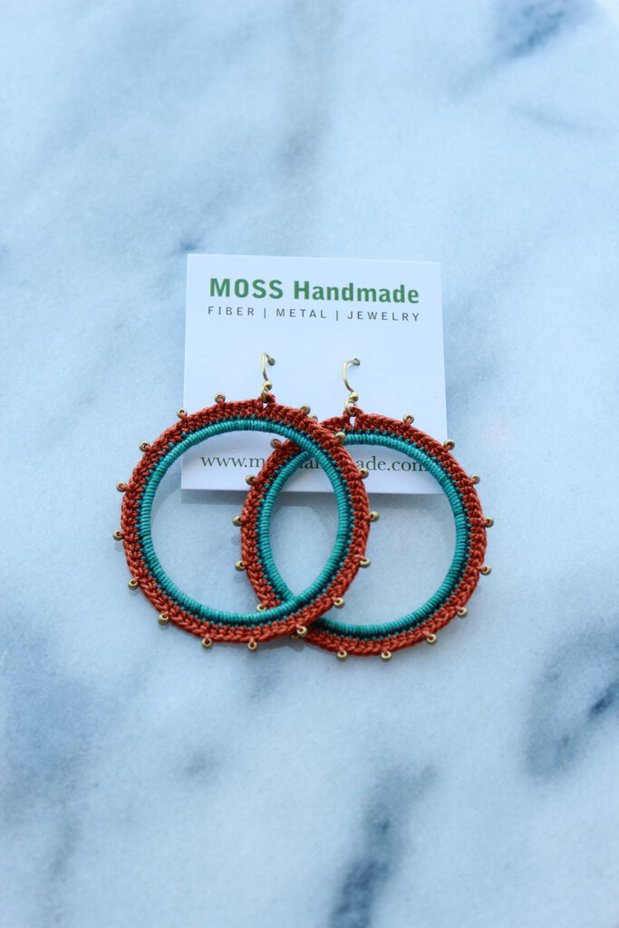 Moss Handmade PDX Radial Hoops in Teal Blue, Rust Orange, w/ gold beads