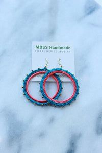 Moss Handmade PDX Radial Hoops in Caribbean, Coral, Gold Bead
