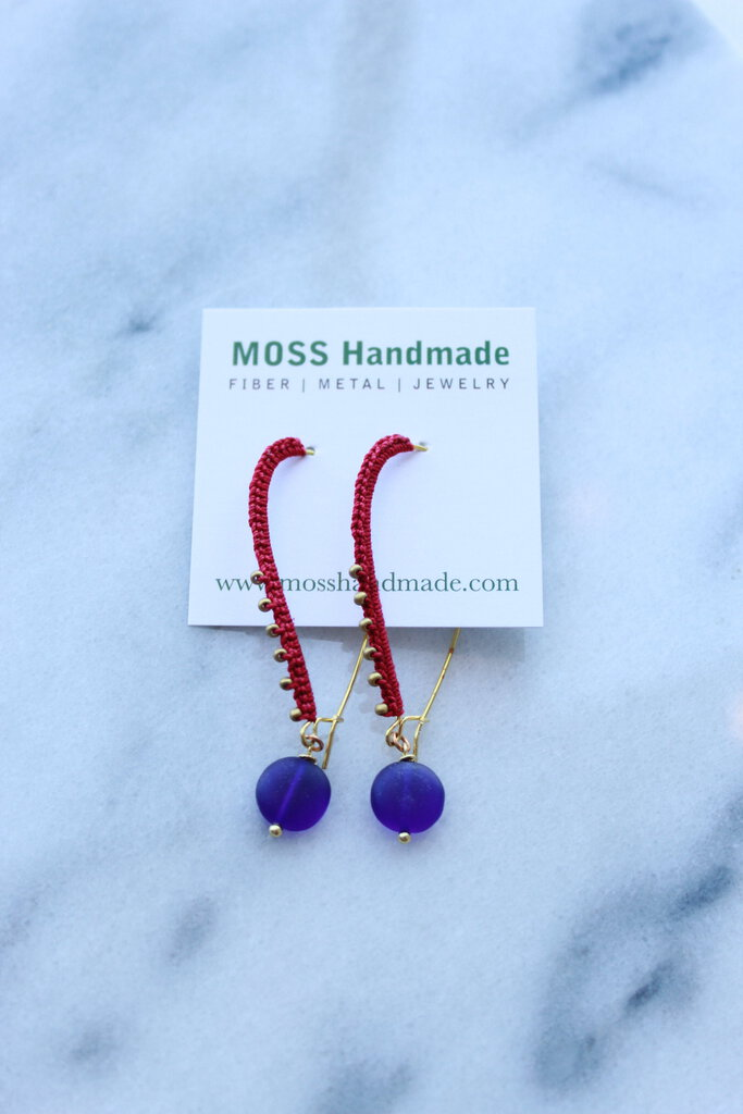Moss Handmade PDX Wrapped Kidney Wire Earrings Pom Red w/ matte blue drops