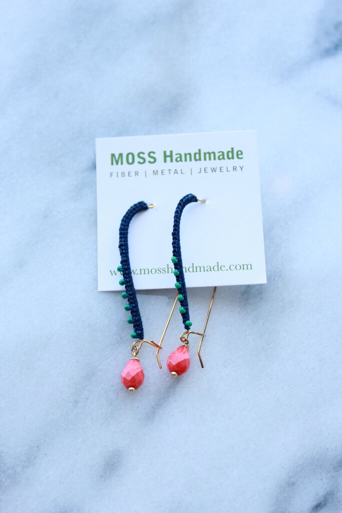 Moss Handmade PDX Wrapped Kidney Wire Earrings (Indigo) w/ faceted red drops