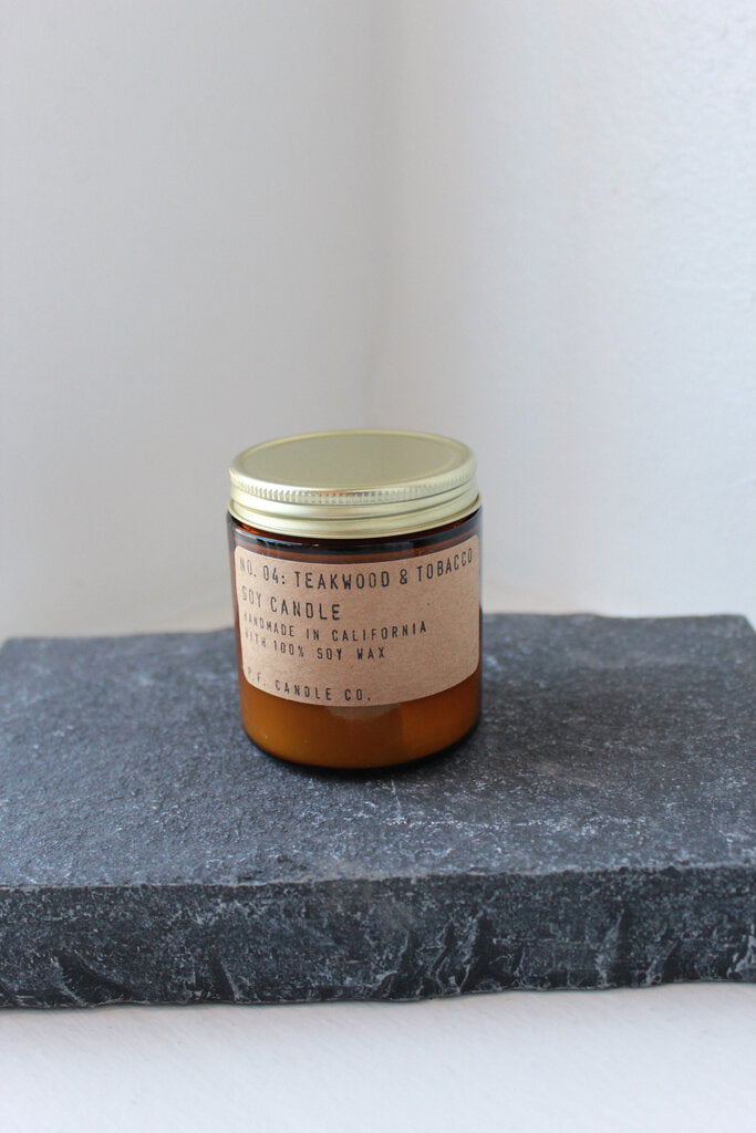 P.F. Candle Co. No. 04 Teakwood & Tobacco Small Soy Candle 3.5oz