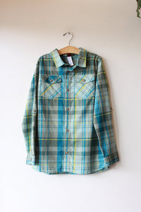 TEA TEAL PLAID LS BUTTON DOWN, SZ 12