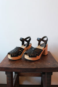 SWEDISH HASBEENS BLACK PLATFORM BRAIDED SANDALS, SZ 38/7.5