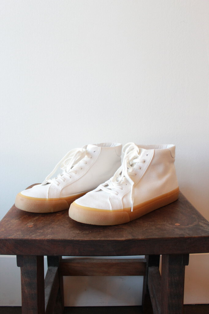 MADEWELL WHITE CANVAS HIGH TOPS, SZ 9.5