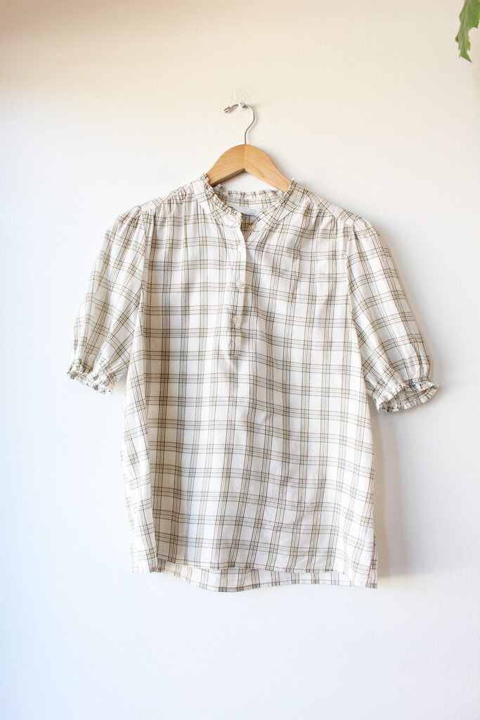 LUCKY BRAND OLIVE WHITE GRID PATTERN GATHERED SLEEVE BLOUSE, SZ M
