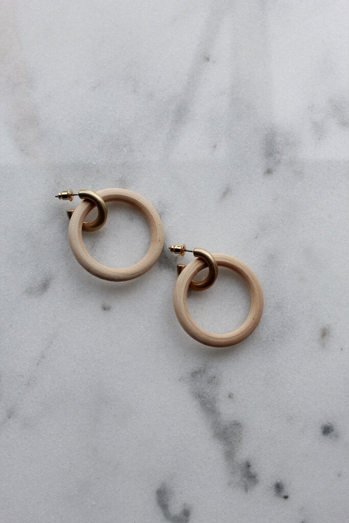 NEW WOODEN CIRCLES ON GOLD HOOPS