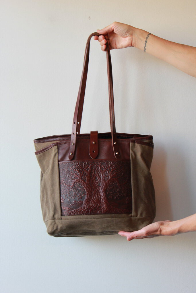 OBERON DESIGN WAXED CANVAS + EMBOSSED LEATHER 'TREE OF LIFE EVERYDAY TOTE