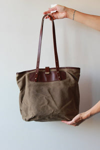 "OBERON DESIGN WAXED CANVAS + EMBOSSED LEATHER 'TREE OF LIFE EVERYDAY TOTE"" ($195 ONLINE)"
