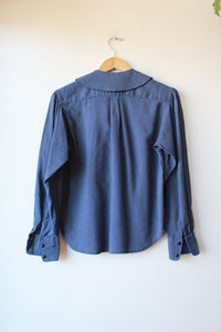 VINTAGE KENZO NAVY SPOTTED WOOL PETER PAN COLLAR BLOUSE SZ S
