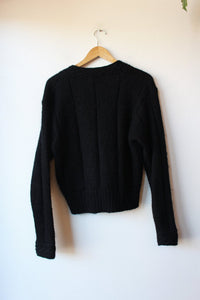 VINTAGE GALLAGHER BLACK CROPPED MOHAIR BLEND CARDIGAN SZ S