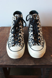 CONVERSE LEOPARD PRINT HIGH TOPS, SZ 7 (FIT 7.5-8)