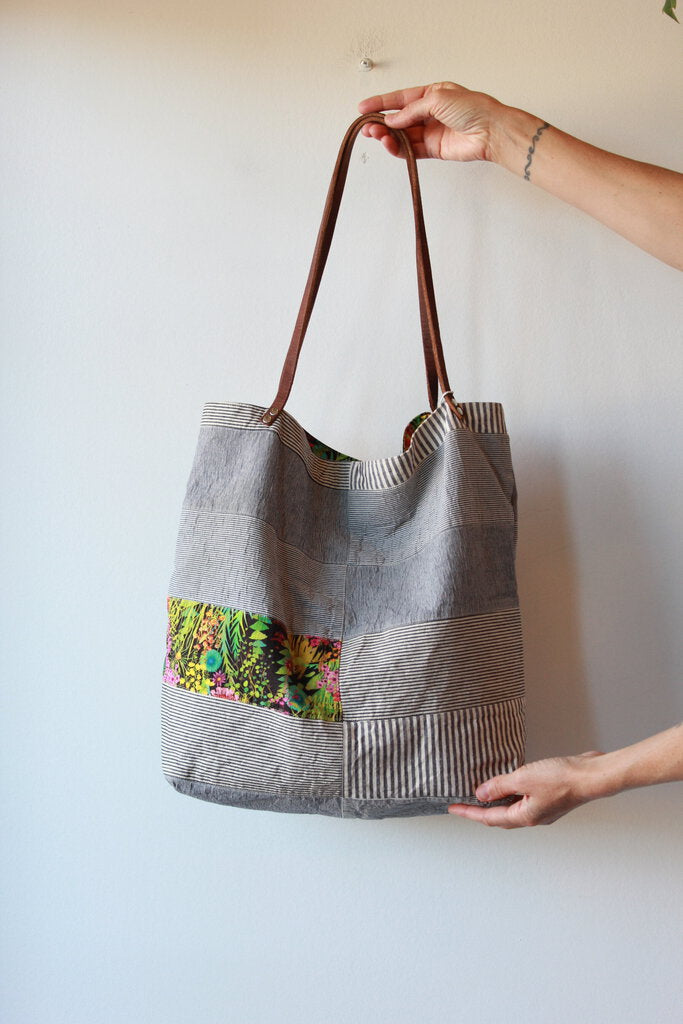 HANDMADE ENGINEER PATCHWORK TOTE WITH LIBERTY OF LONDON LINING