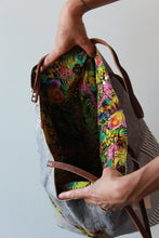 Load image into Gallery viewer, HANDMADE ENGINEER PATCHWORK TOTE WITH LIBERTY OF LONDON LINING