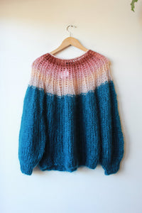 MAIAMI BASIC MOHAIR BLEND TURQUOISE + PINK OPEN KNIT SWEATER SZ S