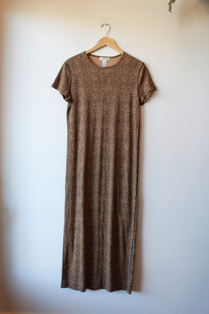 VINTAGE JONES NY LEOPARD PRINT COTTON KNIT DRESS SZ L (FITS M)