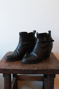 RAG & BONE BLACK STACKED HEEL ANKLE STRAP BOOTIE SZ 39.5/8.5-9