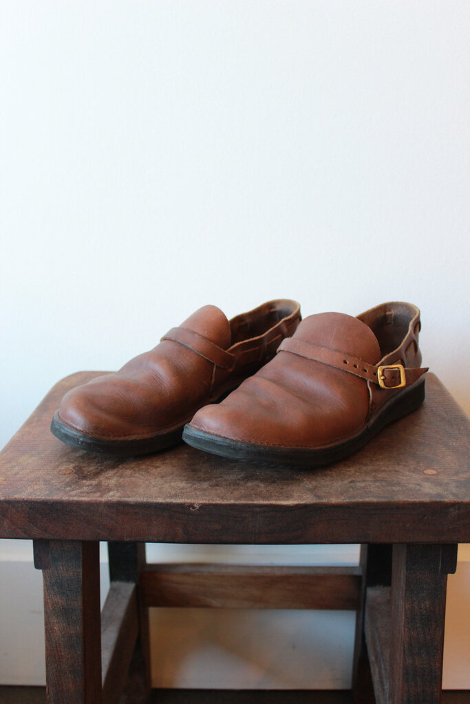 AURORA SHOE COMPANY MIDDLE ENGLISH BROWN SLIP ONS SZ 9.5 ($187 ONLINE)