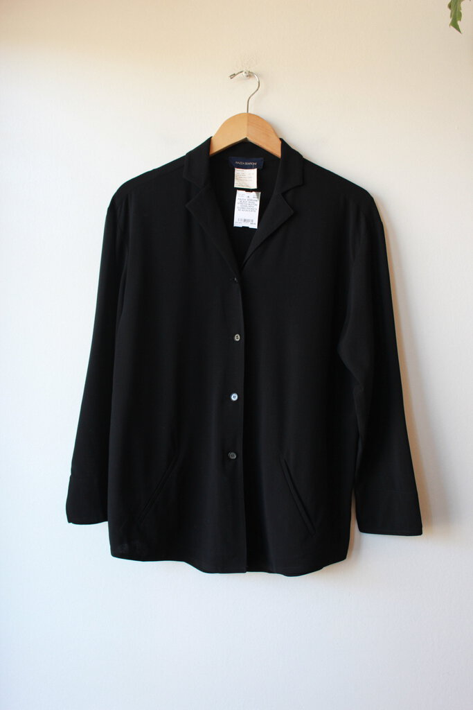 PIAZZA SEMPIONE BLACK WOOL STRETCH BUTTON DOWN WITH CLOSED POCKETS SZ 42/US 6 (FITS ROOMY)