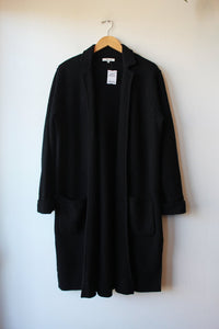 MADEWELL CAMDEN BLACK BOILED WOOL SWEATER COAT SZ M