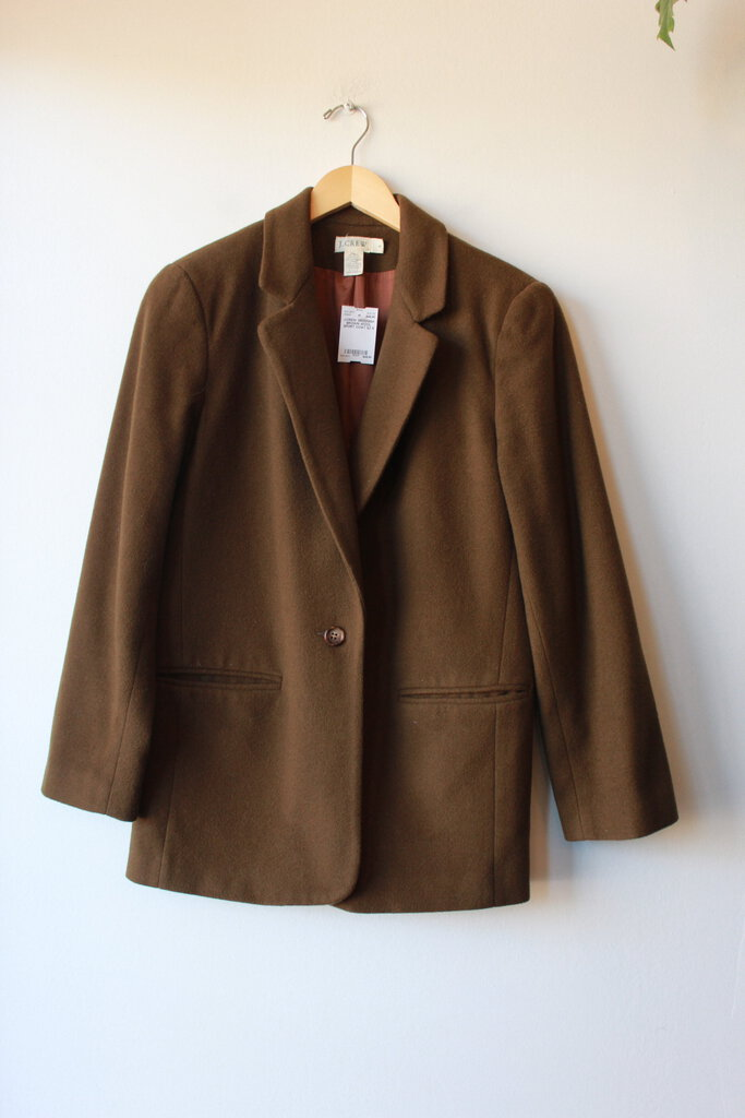 J.CREW GREENISH BROWN WOOL SPORT COAT SZ 6