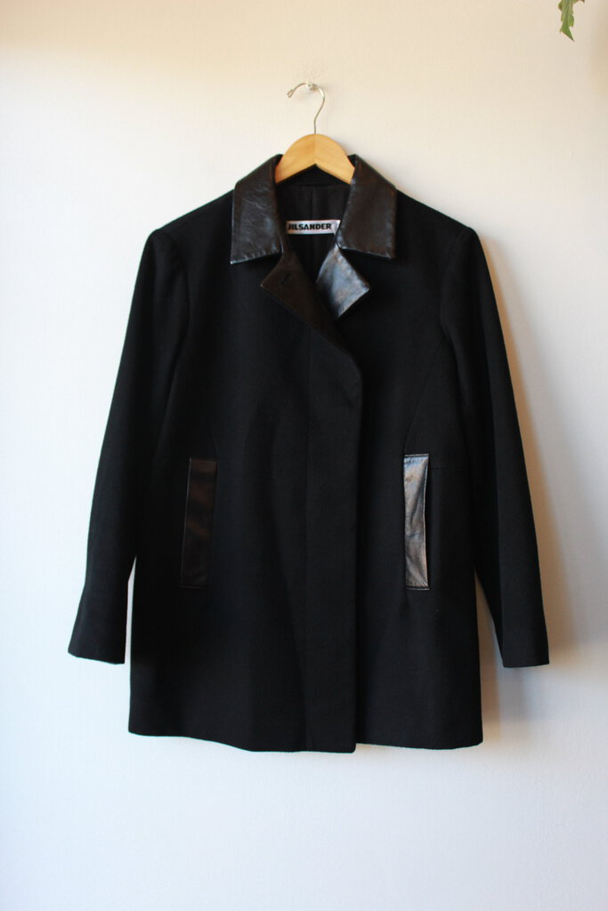 JIL SANDER BLACK CASHMERE JACKET WITH LEATHER TRIM SZ 40/US 10 (FITS 6-8)
